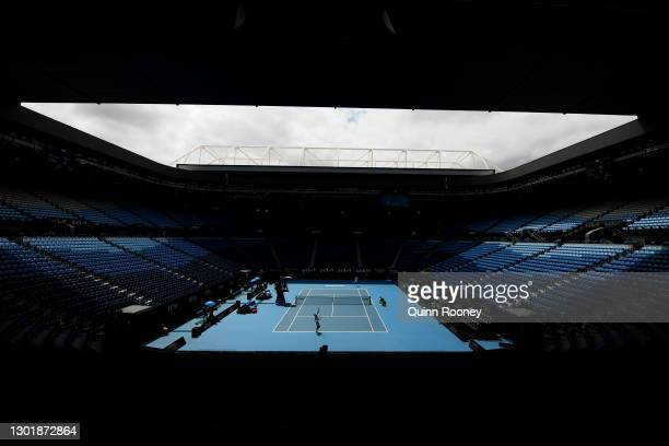General view inside Rod Laver Arena during the Men's Singles third round match between Filip Krajinovic of Serbia and Daniil Medvedev of Russia...
