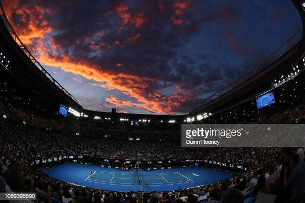 A general view inside Rod Laver Arena during the Women's Singles Final match between Naomi Osaka of Japan and Petra Kvitova of Czech Republic during...