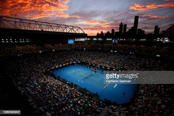 General view inside Rod Laver Arena during the Women's Singles Final match between Naomi Osaka of Japan and Petra Kvitova of Czech Republic during...