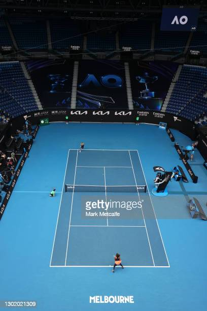 General view inside Rod Laver Arena during the Women's Singles fourth round match between Naomi Osaka of Japan and Garbine Muguruza of Spain during...