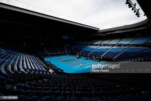 General view inside Rod Laver Arena during the Women's Singles third round match between Karolina Pliskova of Czech Republic and Karolina Muchova of...