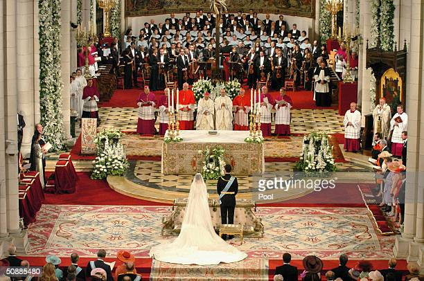 General view inside the Almudena cathedral where the wedding ceremony takes place between Spanish Crown Prince Felipe de Bourbon and former...