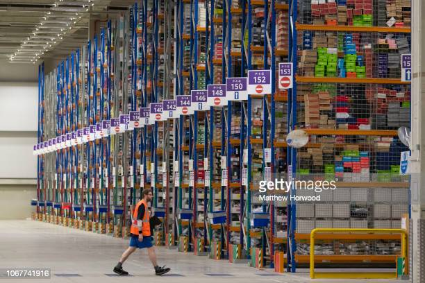 General view inside the Amazon fulfillment centre as workers gear up for Black Friday and Christmas on November 13, 2018 in Swansea, Wales. The...