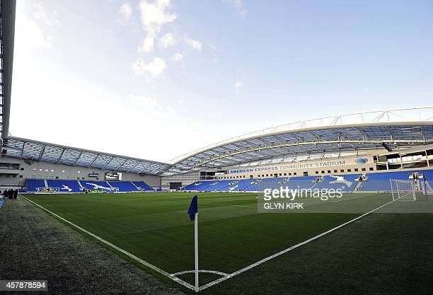 General view inside the American Express Community Stadium before the league cup football match between Brighton Hove Albion and Liverpool at The...