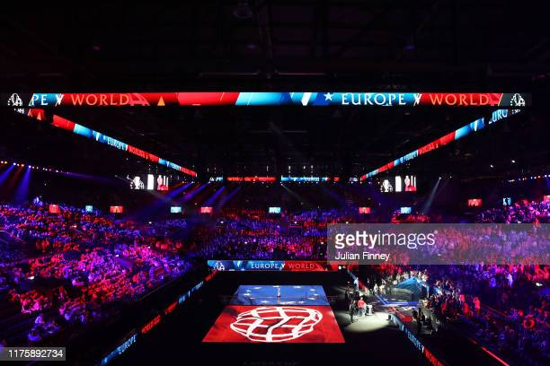 General view inside the arena as players and captains are introduced to the crowd during Day One of the Laver Cup 2019 at Palexpo on September 20,...
