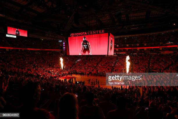 A general view inside the arena before Game Two of the Western Conference Finals between the Houston Rockets and the Golden State Warriors of the...