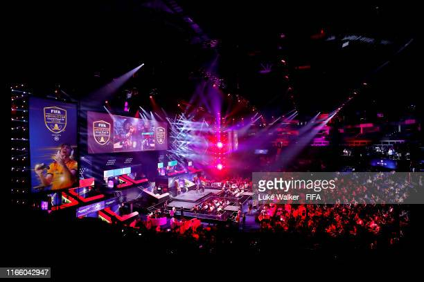 General view inside the arena during Finals day of the FIFA eWorld Cup 2019 at the O2 Arena on August 04, 2019 in London, England.