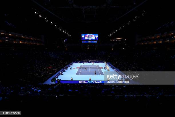 General view inside the arena during the doubles final match between Nicolas Mahut and Pierre-Hugues Herbert of France and Raven Klaasen of South...