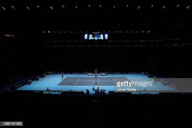 General view inside the arena during the match between Dominic Thiem of Austria and Kevin Anderson of South Africa during Day One of the Nitto ATP...