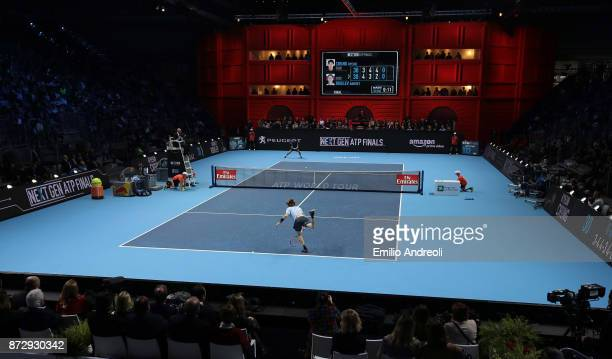 A general view inside the arena during the match between Hyeon Chung of South Korea and Andrey Rublev of Russia during the mens final on day 5 of the...