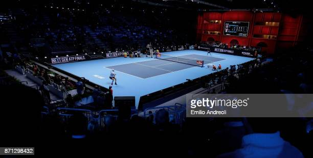 A general view inside the arena during the match Karen Khachanov vs Daniil Medvedev of Day 1 of the Next Gen ATP Finals on November 7 2017 in Milan...