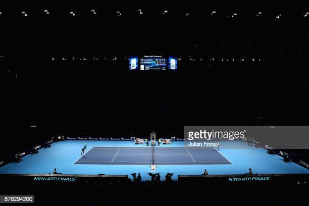 A general view inside the arena during the singles final between David Goffin of Belgium and Grigor Dimitrov of Bulgaria during day eight of the 2017...