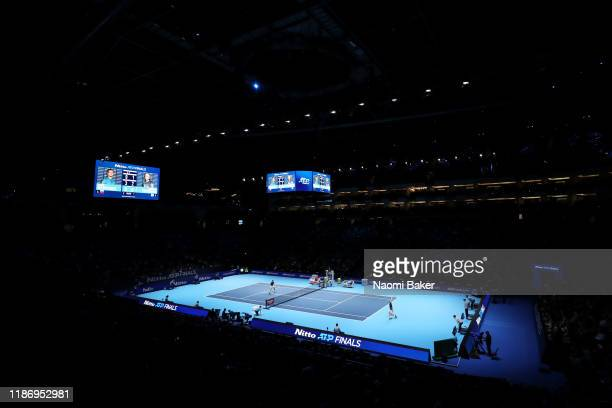General view inside the arena during the singles match between Daniil Medvedev of Russia and Stefanos Tsitsipas of Greece during Day Two of the Nitto...