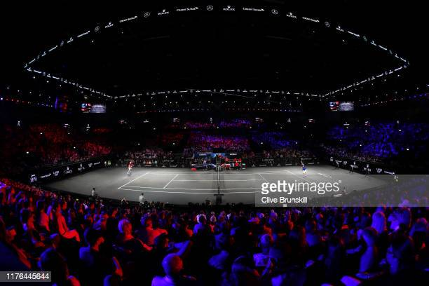 General view inside the arena in the singles match between Roger Federer of Team Europe and John Isner of Team World during Day Three of the Laver...