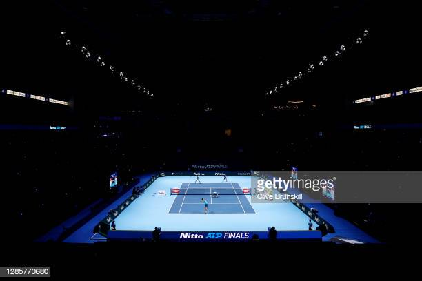 General view inside the arena which is empty as no fans are allowed due to Covid-19 restrictions as Wesley Koolhof of The Netherlands and Nikola...