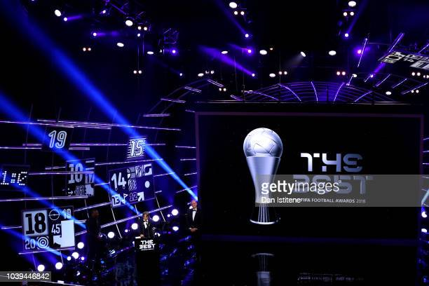 A general view inside the auditorium as Luka Modric of Real Madrid receives the trophy for The Best FIFA Men's Player 2018 during the The Best FIFA...