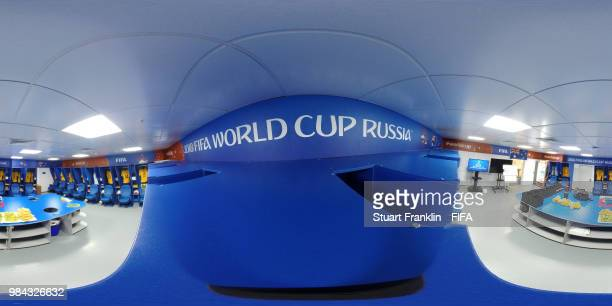General view inside the Australia dressing room prior to the 2018 FIFA World Cup Russia group C match between Australia and Peru at Fisht Stadium on...