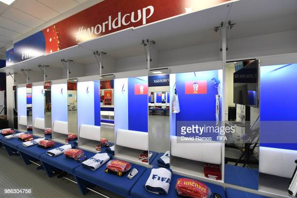 A general view inside the Belgium dressing room prior to the 2018 FIFA World Cup Russia group G match between England and Belgium at Kaliningrad...