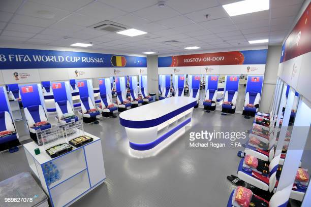 General view inside the Belgium dressing room prior to the 2018 FIFA World Cup Russia Round of 16 match between Belgium and Japan at Rostov Arena on...