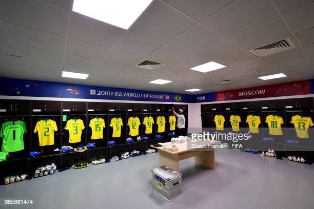 General view inside the Brazil dressing room prior to the 2018 FIFA World Cup Russia group E match between Serbia and Brazil at Spartak Stadium on...