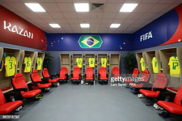 General view inside the Brazil dressing room prior to the 2018 FIFA World Cup Russia Quarter Final match between Brazil and Belgium at Kazan Arena on...