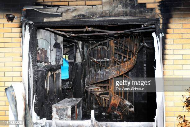 A general view inside the burnt Kyoto Animation Studio is seen on July 20 2019 in Kyoto Japan Shinji Aoba is under suspicion of murder and arson in...