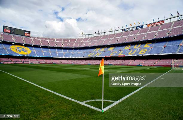 A general view inside the Camp Nou Stadium is seen prior to the La Liga match between FC Barcelona and Atletico de Madrid at Camp Nou on March 4 2018...