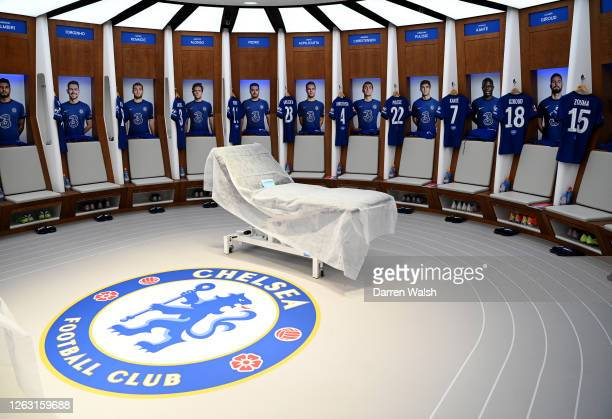 General view inside the Chelsea dressing room ahead of the FA Cup Final match between Arsenal and Chelsea at Wembley Stadium on August 01 2020 in...