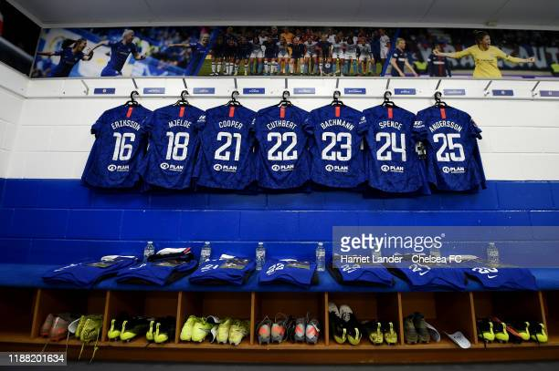 General view inside the Chelsea dressing room prior to the Barclays FA Women's Super League match between Chelsea and Manchester United at...