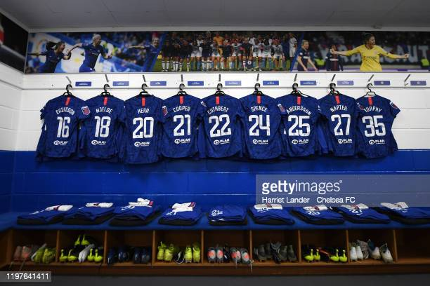 General view inside the Chelsea dressing room prior to the Barclays FA Women's Super League match between Chelsea and Reading at Kingsmeadow on...