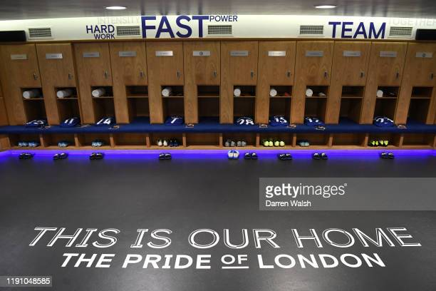 General view inside the Chelsea dressing room prior to the Premier League match between Chelsea FC and West Ham United at Stamford Bridge on November...