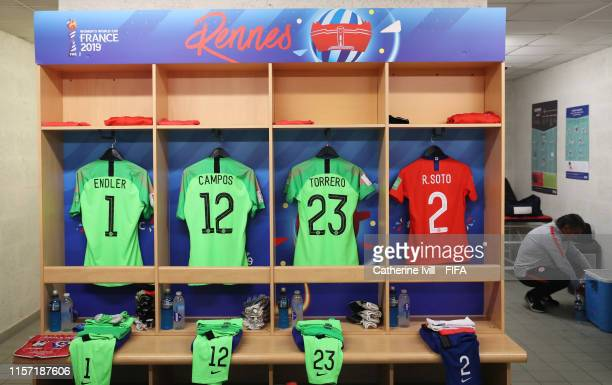 General view inside the Chile changing room prior to the 2019 FIFA Women's World Cup France group F match between Thailand and Chile at Roazhon Park...