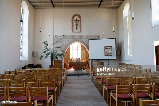 A general view inside the church where Samuel Koch and Sarah Elena Timpe will hold their wedding on August 27 taken on August 26 2016 in Mappach near...