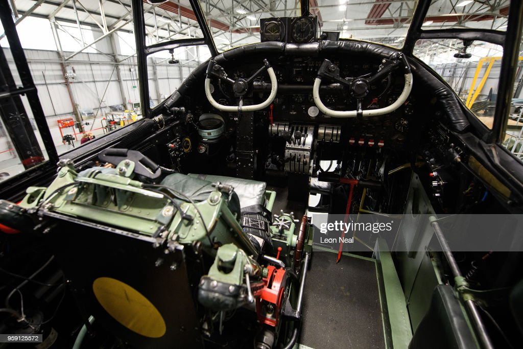 A general view inside the cockpit of one of two surviving airworthy Avro Lancaster bombers ahead of an event to mark the 75th anniversary of the 'Dambusters' raids, at RAF Coningsby on May 16, 2018 in Coningsby, England. The Royal Air Force Battle of Britain Memorial Flight was hoping to fly the Avro Lancaster bomber over the Derwent and Ladybower reservoirs, but high winds prevented the aircraft from taking off. 2018 marks the 100th anniversary of the formation of the RAF and the 75th anniversary of the 617 Squadron Dambusters operation. The Dambuster raids, or 'Operation Chastise' was an attack on German dams on 16-17 May 1943 by Royal Air Force No. 617 Squadron, using an innovative 'bouncing bomb', which skimmed on the surface of the reservoir before hitting the dam wall and exploding.