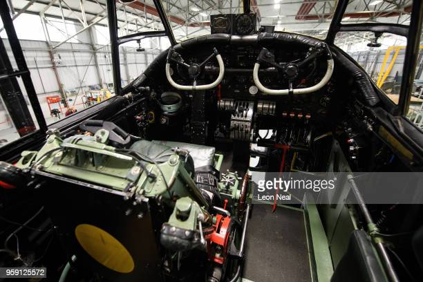A general view inside the cockpit of one of two surviving airworthy Avro Lancaster bombers ahead of an event to mark the 75th anniversary of the...