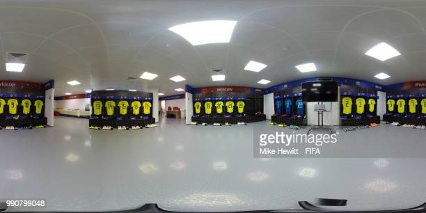 A General view inside the Colombia dressing room prior to the 2018 FIFA World Cup Russia Round of 16 match between Colombia and England at Spartak...