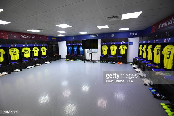 General view inside the Colombia dressing room prior to the 2018 FIFA World Cup Russia Round of 16 match between Colombia and England at Spartak...