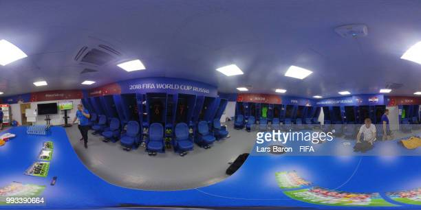 General view inside the Croatia dressing room during the 2018 FIFA World Cup Russia Quarter Final match between Russia and Croatia at Fisht Stadium...