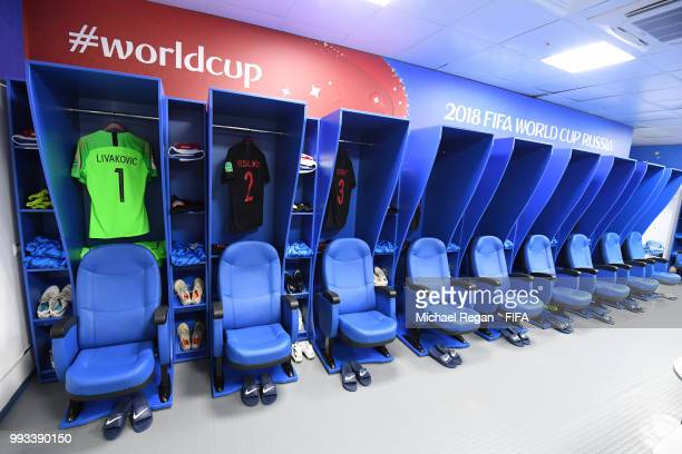 General View inside the Croatia dressing room prior to the 2018 FIFA World Cup Russia Quarter Final match between Russia and Croatia at Fisht Stadium...