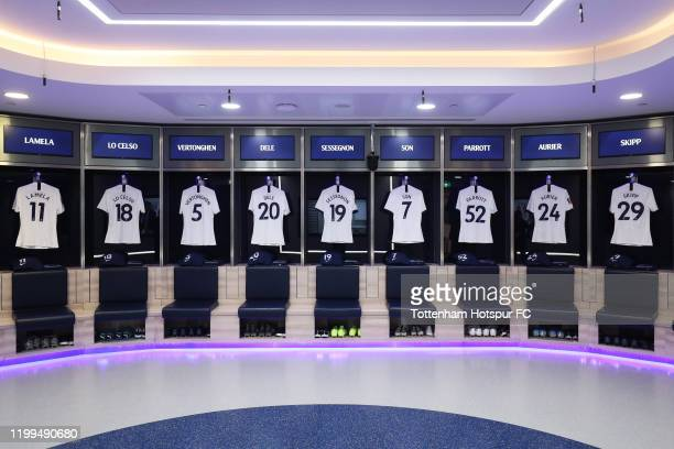 A general view inside the dressing room ahead of the FA Cup Third Round Replay match between Tottenham Hotspur and Middlesbrough FC at Tottenham...