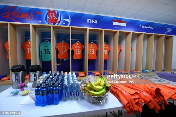 General view inside the dressing room of the Netherlands prior to the 2019 FIFA Women's World Cup France group E match between Netherlands and Canada...