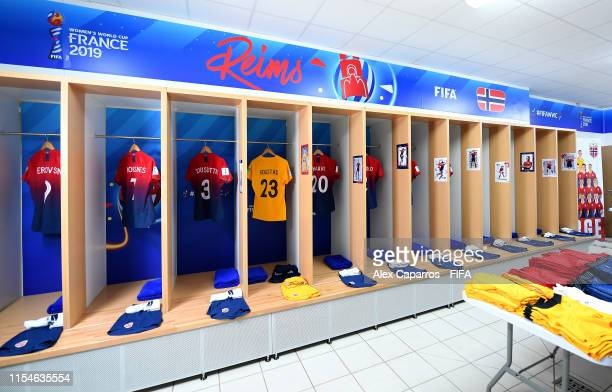 General view inside the dressing room prior to the 2019 FIFA Women's World Cup France group A match between Norway and Nigeria at Stade Auguste...