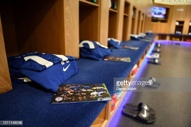General view inside the dressing room prior to the Premier League match between Chelsea FC and Everton FC at Stamford Bridge on March 08 2020 in...