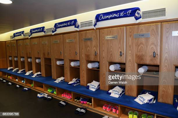 General view inside the dressing room prior to the Premier League match between Chelsea and Watford at Stamford Bridge on May 15 2017 in London...