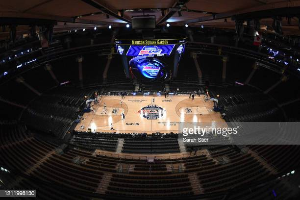General view inside the empty arena before the start of the quarterfinals of the Big East Basketball Tournament at Madison Square Garden on March 12,...