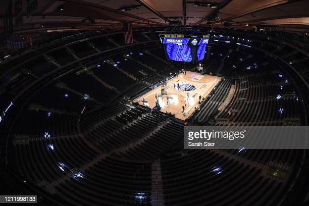 A general view inside the empty arena before the start of the quarterfinals of the Big East Basketball Tournament at Madison Square Garden on March...