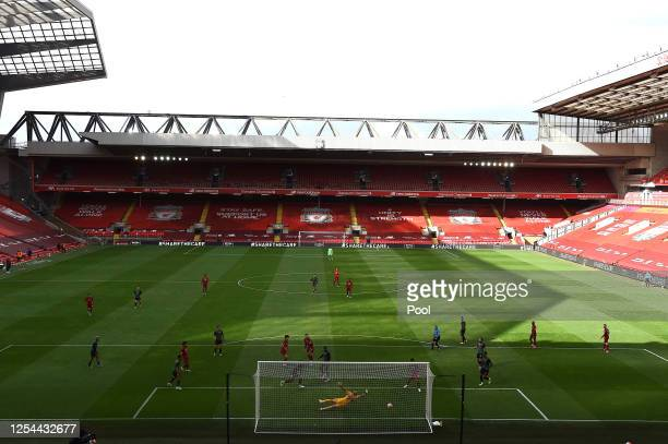 General view inside the empty stadium as Curtis Jones of Liverpool scores his team's second goal during the Premier League match between Liverpool FC...