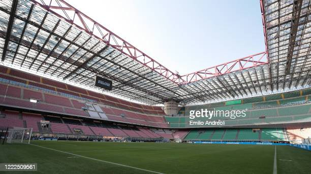 General view inside the empty stadium as fans cannot attend as a preventive measure against spread of Coronavirus prior to the Serie A match between...