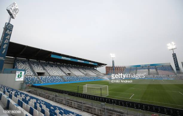 General view inside the empty stadium as fans cannot attend the match due to the medical emergency Covid-19 , prior to the Serie A match between US...