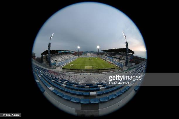 General view inside the empty stadium as fans cannot attend the match due to the medical emergency Covid-19 prior to the Serie A match between US...